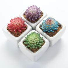 KACOO Set Of 4 Modern White Ceramic Mini Flocking Echeveria Chihuahuaensis Potted Artificial Succulent Plants - 1
