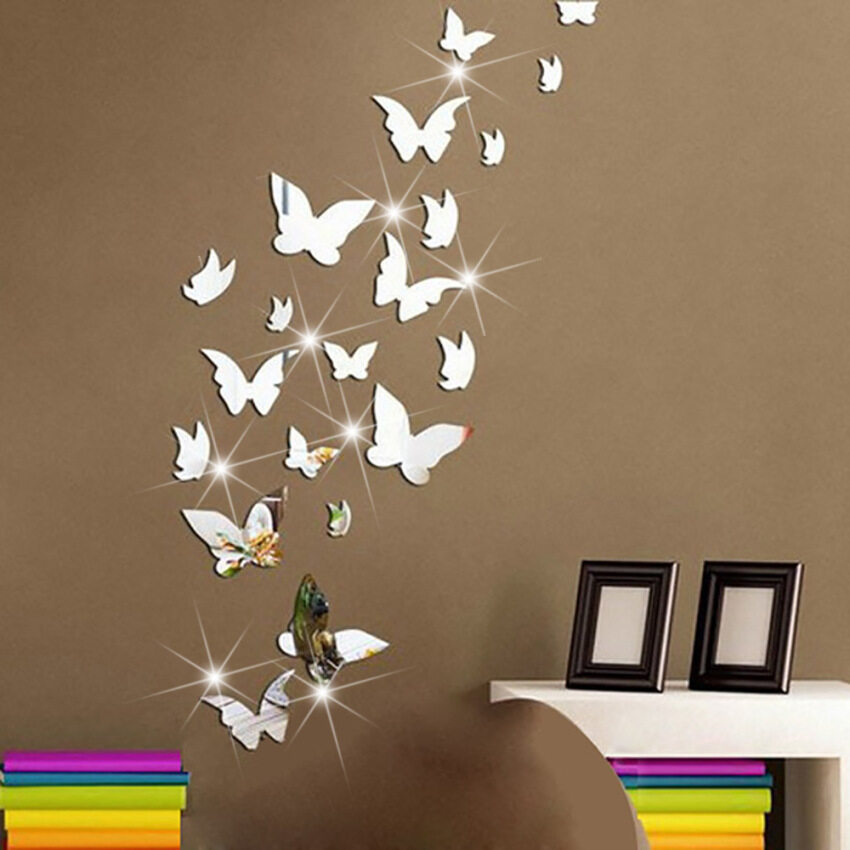 AirSky A Set Solid Acrylic Mirror Posted Butterfly Stickers Bedroom Living Room Bathroom Decoration Self-adhesive Paste Mirror Silver - intl