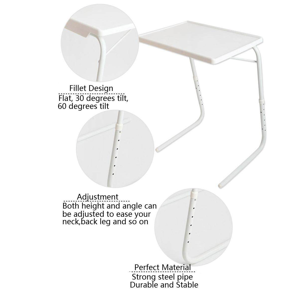 Adjustable Folding Table Dinner Coffee Laptop Table Mate Travelling Tray Tall - intl