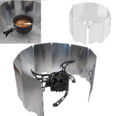 Allwin Lipat Mini 9 BBQ Piring Cooker Kompor Gas Penghalau Angin Piknik Luar Ruangan Layar Perak