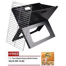 Alpha Living Charcoal Barbeque X-Grill - Black [FREE Twin Blade Rotary Multi Peeler]