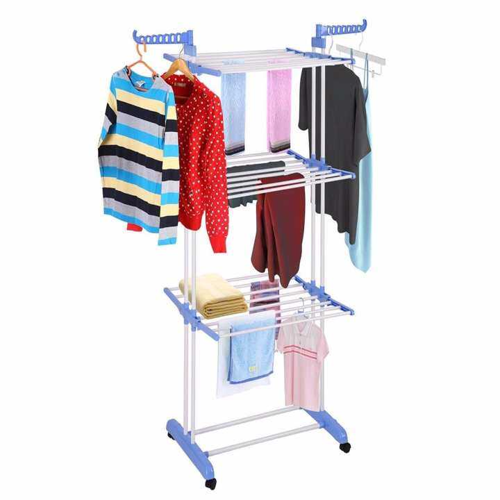 Blue Clothes Dryer ~ Alpha living quality blue tier large clothes foldable