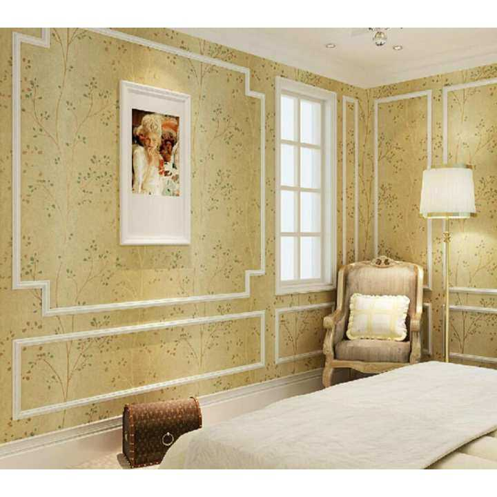 American Country Style Non-woven Wallpaper Chinese Style New Fashion Pastoral Patterns Non-woven Wallpaper Wall Sticker for All Kind of Room 0.53M (1.73') X 10m (32.8') =5.3 Square Meters Beige