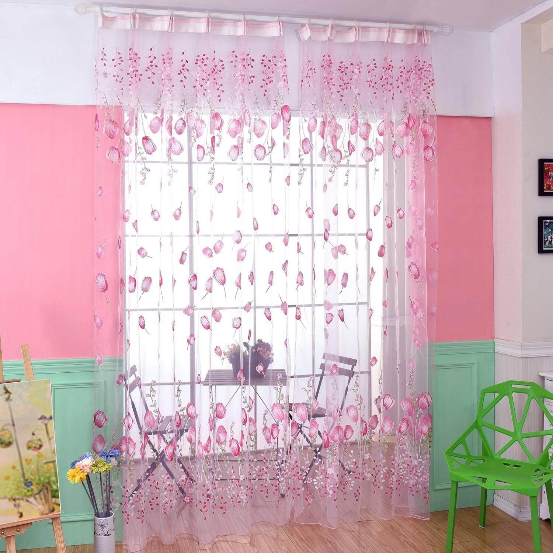 AOJBTENG Chiffon Tulip Curtain Sheer Drape Panel Scarf Voile Door Window Decor (Green) - intl
