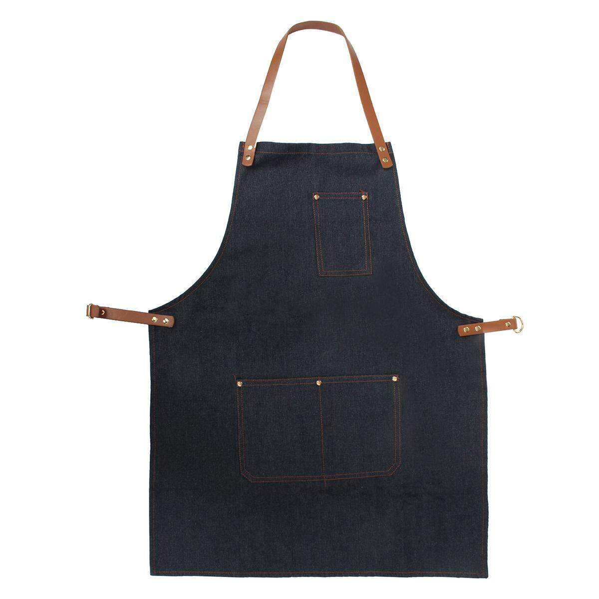 The Cheapest Apron Work Clothes Barista Pockets Soldering Chef Barber Denim Workwear Straps Intl Online