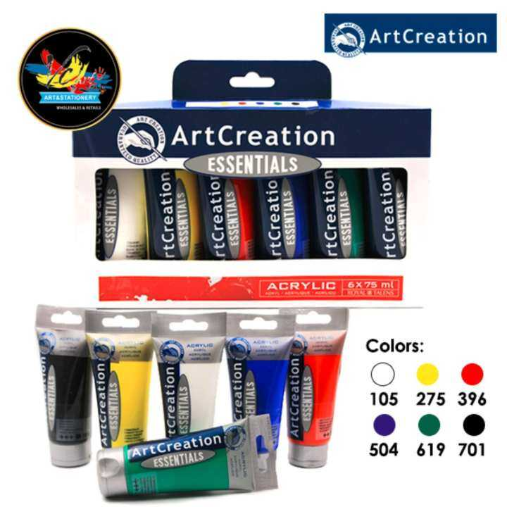 Art creation essentials acrylic paint tube set 6 x 75ml for Craft essentials acrylic paint