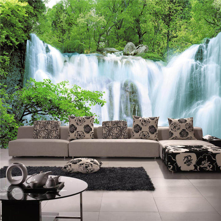 Art Deco Wallpaper Contemporary Wall Covering Canvas Paper 3D Landscapes Waterfall Large Mural Wallpaper (13'6''X8'3'')