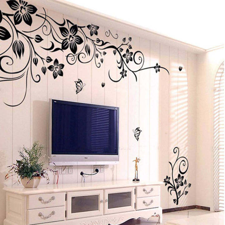Art Flowers and Vine Pattern Removable PVC Room TV Backdrop Entrance Home Office Wall Decor Sticker Mural Decal Wallpaper Black