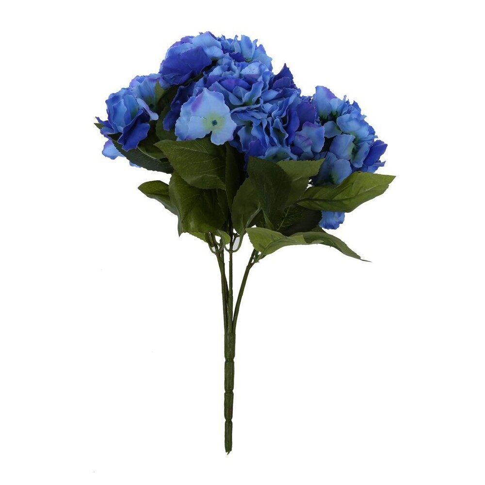 Buatan Hidrangea 5 Kepala Bunga Buket Pernikahan Taman Pesta Pengantin  Dekorasi Gelap Biru-Internasional dc14f5e3e0