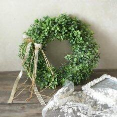 Artificial Leaf Wreath with Bow Door Hanging Wall Window Decoration Wreath Holiday Festival Wedding Decor, Style A by LuckyG