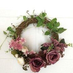 Hiqueen Floral Artificial Rattan Wreath Door Hanging Wall Window Decoration Wreath Holiday Festival Wedding Decor