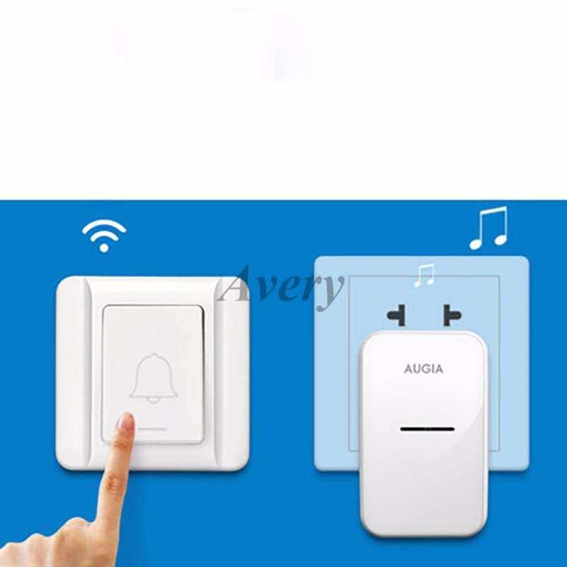 AUG e86 38 Ring Bell Wireless Door bell Button Led Light Home Doorbells No Battery Waterproof Digital DoorBell