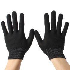 Autoleader General Black White Antistatic Work Glove Nylon Knit Working Safety Grip Druable Black