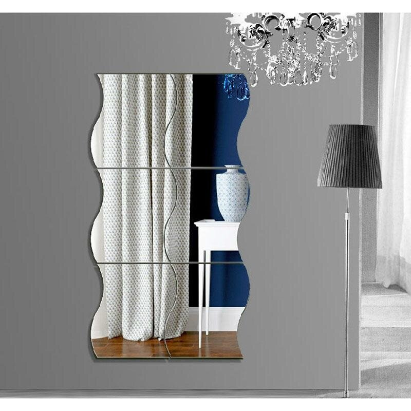 B F 6 Pcs Waves Shape Self Adhesive 3d Mirror Wall Sticker Home Room Decal Decoration