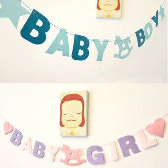 Baby Shower Girl Boy Letters Birthday Party Banner Bunting Flag Hanging Decor
