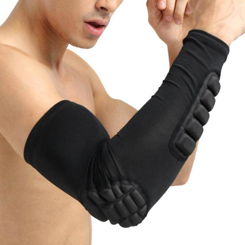 Basketball Football Shooting Extended Single Arm Elbow Sleeve Pad Protector Support (Black)
