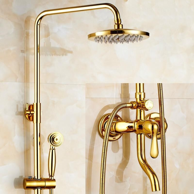 Sale Bathroom Shower System Copper Faucet Set Stainless With Rainfall Shower Head Handheld Shower Head Sprayer Gold Chrome Plated Intl Oem Branded