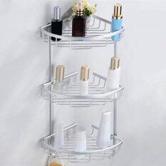 Lowest Price Bathroom Triangular Aluminum Wall Mount Shower Shelf Storage Rack Basket Style Three Layers