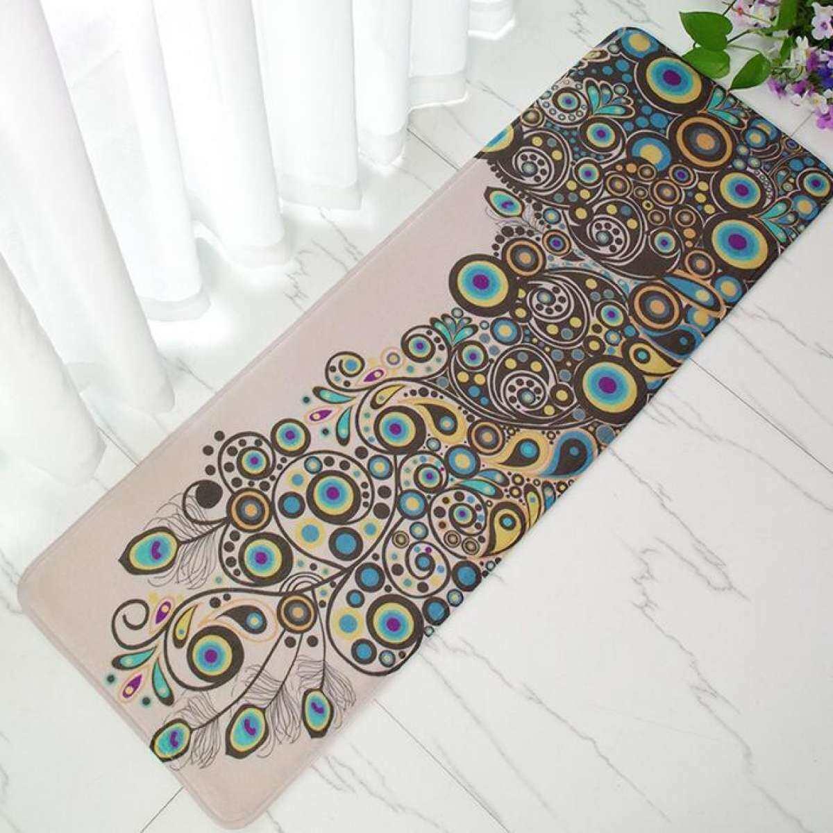 Beauty Peacock Cetak Anti-Slip Panjang Dapur Karpet Karpet Lembut Flanel Kamar Tidur Living Ruangan