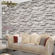 Beibehang Roll 3D Real Look Realistic Brick Wall Wallpaper White Grey Deep Embossed Textured