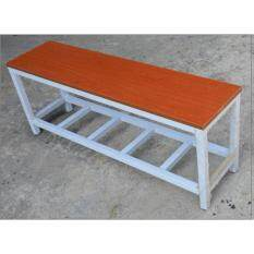 Metal Bench in wooden seat cherry colour size 120L x 30W x 46H cm