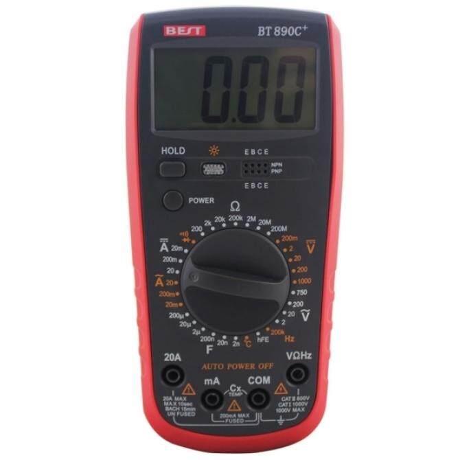 BEST-BT890C + Akurasi Tinggi LCD AC DC Volt Amp Ohm Listrik Multimeter Digital dengan On-Off Bunyi Alarm Tanggal Tahan