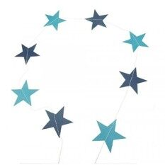 Bilipala Blue Five-Pointed Star String Garland  Decoration, Blue, 13 Feet