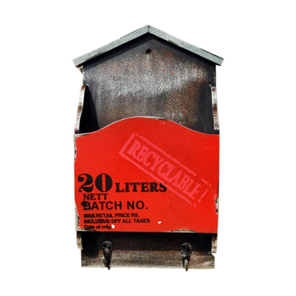 BINLI American Country Retro Wooden Mail Box Letter Rack Wall Mounted Mail Sorter Storage Box Key Hooks Standing Holder Organizer Hallway Doorway Hanging Basket Vintage Home Decoration - intl
