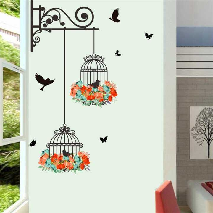 Birds On Cage Colorful Flowers Butterfly Home Decor Living