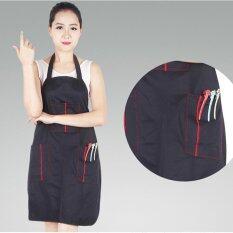 Black Adjustable Apron Bib Uniform with 2 Pockets Hairdresser Salon Hair Tool Waterproof Salon Uniform