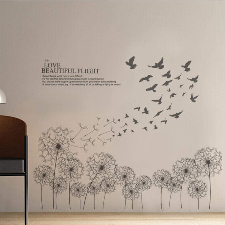 Black Elegant Dandelion Birds English Letters Wall Decal Home Sticker PVC Murals Paper House Decoration Wallpaper Living Room Bedroom Art Picture for Kids Teen Senior Adult Baby