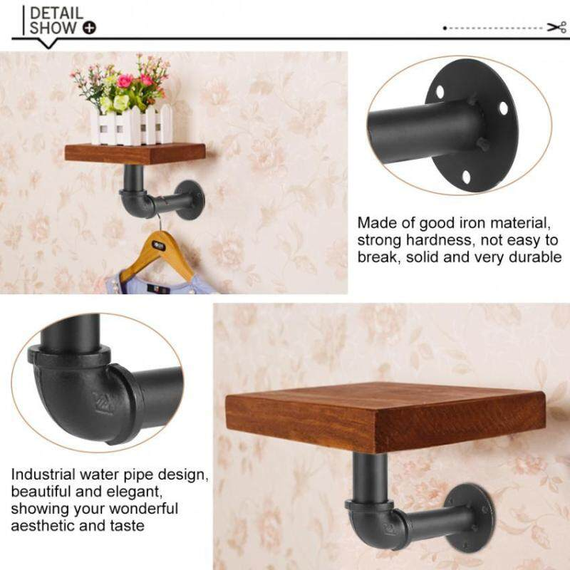 Black Iron Industrial Pipe Shelf Bracket Holder DIY Home Decor Wall Mounted Support #Detachable