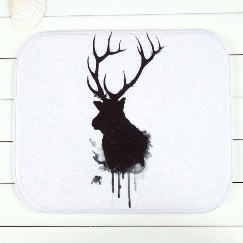 Black White Elk Doormat Bedroom Carpet Christmas Bathmats Non-SlipFloor Rug Velvet40*60CM