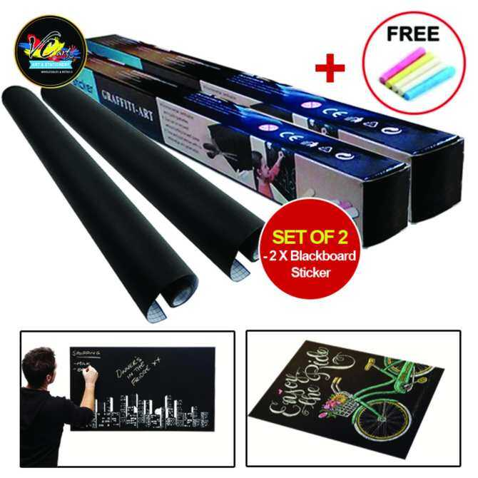 Blackboard Vinyl Peel and Stick Self Adhesive Chalkboard Wall Sticker Set of 2 (45cm x 200cm)
