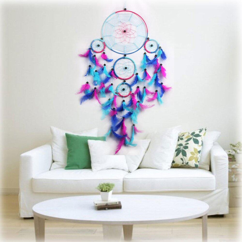 GEFANG Blue & Rose Red Dream Catcher Bedroom Handmade Hanging Dreamcatcher Decor Gift - intl