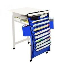 Book Storage And Desk Organizer - 11 Pocket Book Shelf And Magazine Rack - Best And Easiest Way To Store And Organize Files, Text Books And Documen For Tidy Desk And More Workspace (Blue)