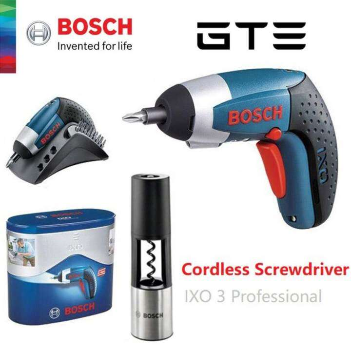 bosch cordless screwdriver 3 6v ixo3 professional free corkscrew 2l5 fulfilled by gte shop. Black Bedroom Furniture Sets. Home Design Ideas