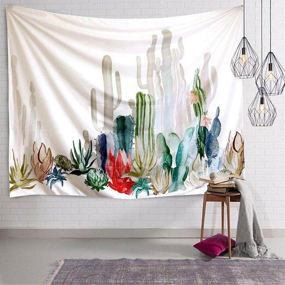 Cactus Wall Hanging Tapestry -Polyester Fabric Floral Wallpaper Home Decorations,Beach Towel Shawl Cushion(01) - intl