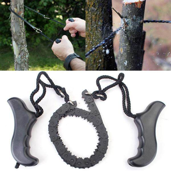 Camping Hiking Emergency Survival Hand Tool Kit Gear Pocket Chain Saw ChainSaw - intl