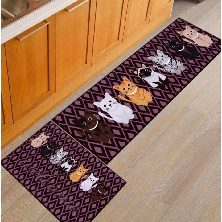 Cartoon Adorable Cat Kitchen Strp Mat
