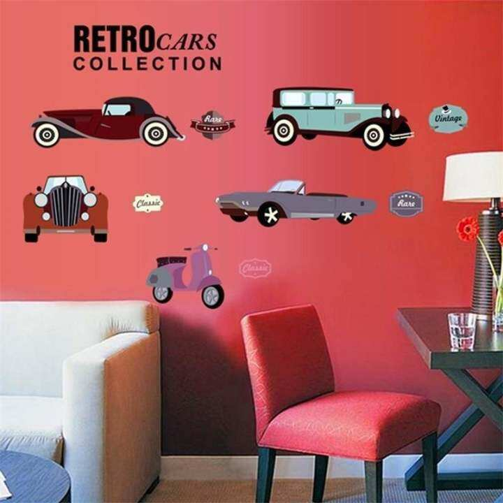 Cartoon Retro Cars wall stickers for kids rooms child room decoration 7213 nursery decor wallpaper wall decals cars sticker