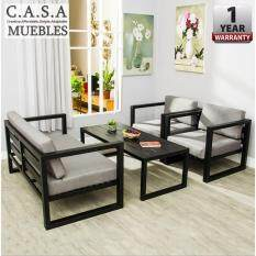 CASA MUEBLES: [COMBO A] UNIRE Living Room Steel Sofa Set With Coffee Table
