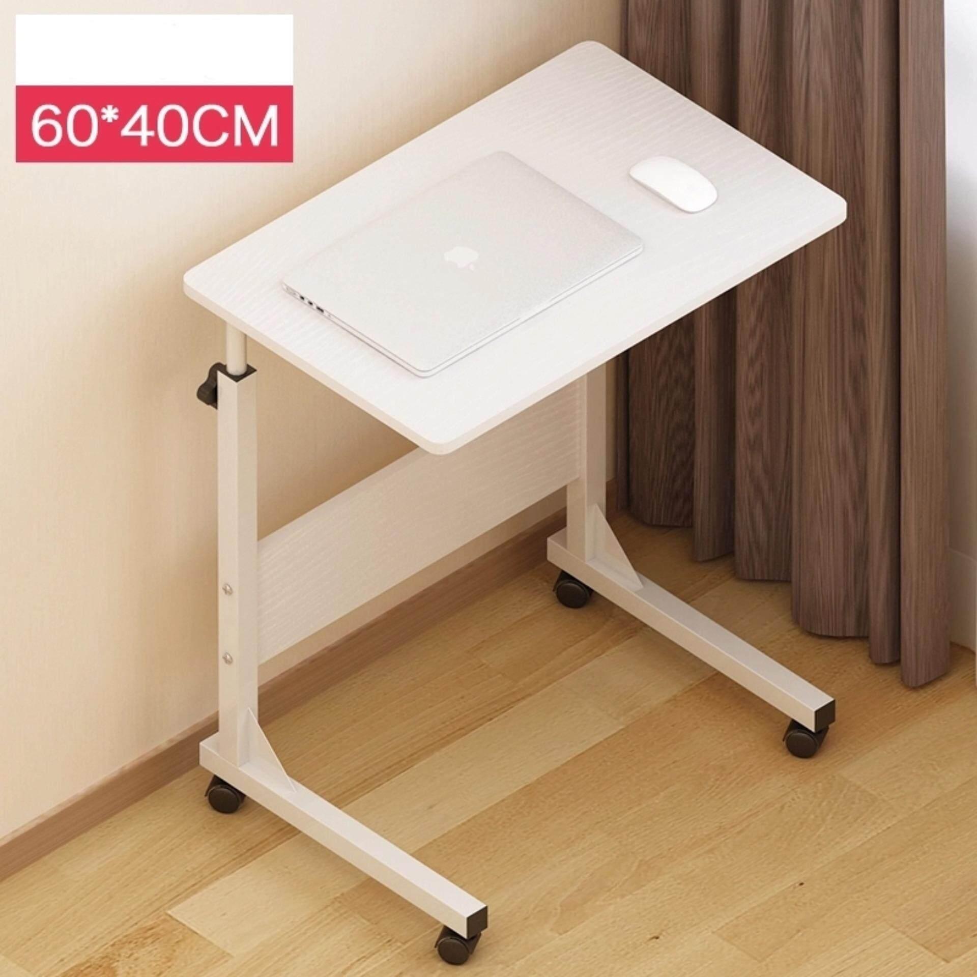 Cassa Sevil Mobile Height Adjustable Table 60cmx40cm With Wheels Laptop Computer Desk Only Maple Wenge Black