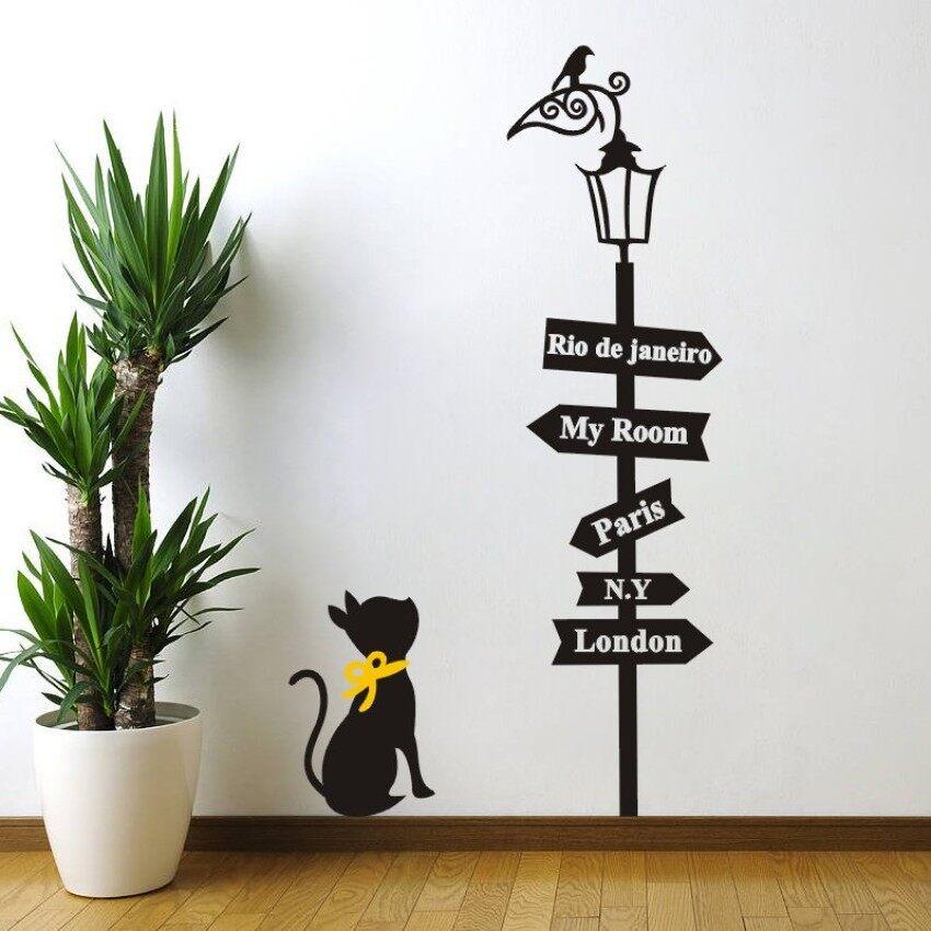 Kucing Melihat Lampu Jalan Wallpaper Vinil Yang Dapat Dilepas Dinding Livingroom Dinding Stiker 85*48 Cm-Internasional