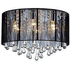 Ceiling Lights Fashion Romantic Drawing Modern Fabric Crystal Chandelier Bedroom Living Room Black Shade