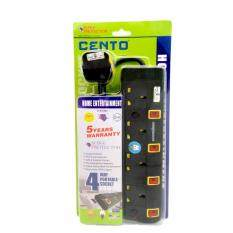 CENTO 4 Way 3 Pin Socket Outlet with Neon 2 Meter