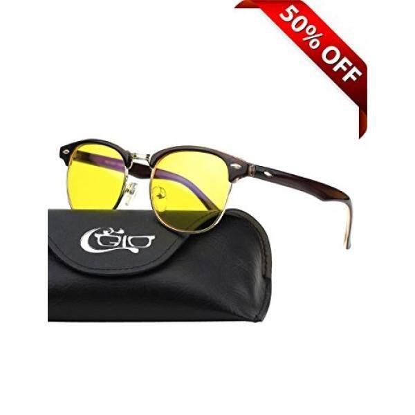 Cgid CY56 Tanduk Berbingkai Clubmaster Pemblokir Lampu Biru Kacamata Tidur Lebih Baik, Anti Silau Kelelahan Memblokir Sakit Kepala Tegangan Mata, bagus untuk Komputer/Telepon Pembaca Bingkai Coklat, Lensa Kuning Kacamata Pria-Intl