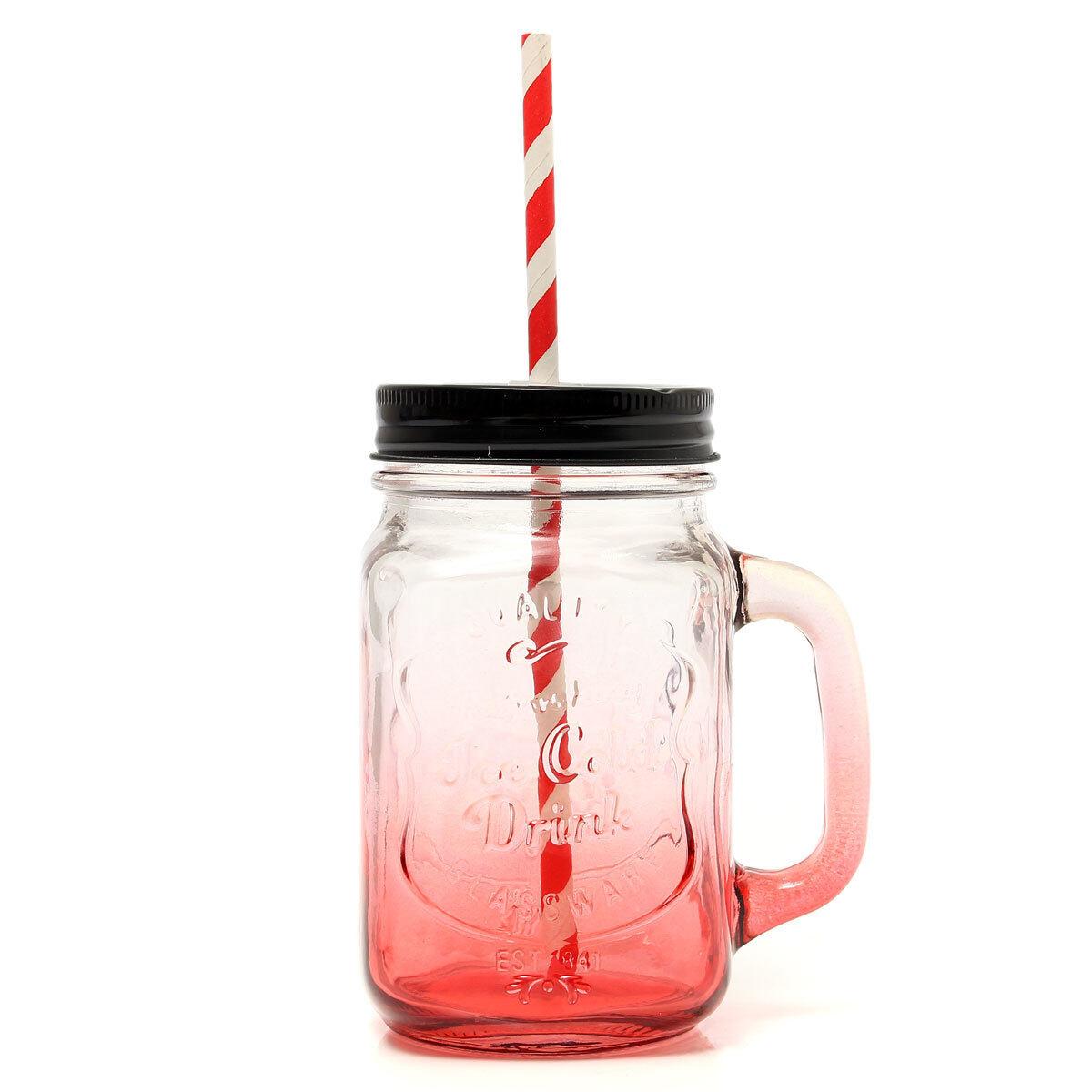 Đánh giá Changing Glass Cup Bar Mason Jam Jar Drinking W/ Handle +Paper Straw 500ML Red - intl ở đâu bán