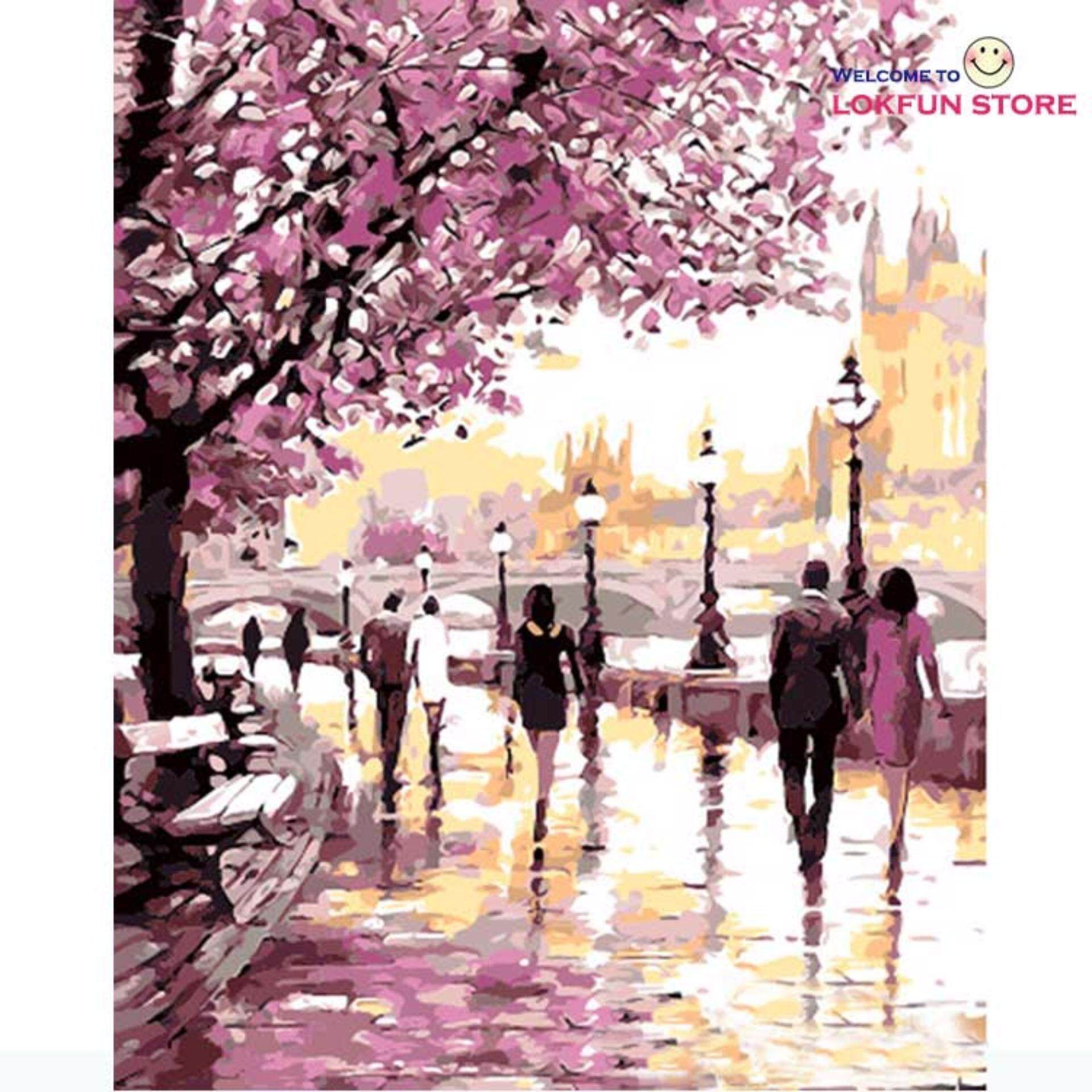 Cherry Blossoms Road Diy Oil Painting By Numbers Kits Wall