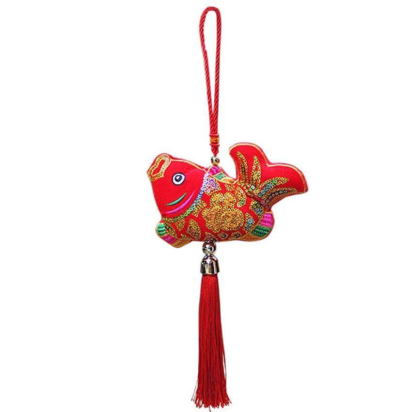 TTW Chinese New Year Decorations Decorative Handmade Hanging Fish Withchinese Knot For Good Luck (40Cm